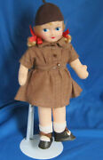 Vintage 13 Girl Scout Brownie Cloth Doll By Georgene Noveltries 1940's Exc