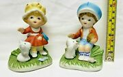 Vintage Homco Porcelain 1430 Boy And Girl With Dog Figurines Set Made In Taiwan