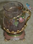 Rare Jay Strongwater Butterfly Enamel Crystal Glass Serving Creamer Pitcher Milk