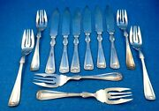 Gorham Princess Louise Silverplate 12 Pce Fish Service Stainless Knife - Estate