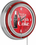 Coke Chrome Double Rung Neon Clock - Coca-cola Things Go Better With Coke Bottle