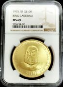 1975 Gold Fiji 593 Minted 100 Dollar King Cakobau Coin Ngc Mint State 69