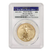 2021-w 50 Eagle Pcgs Ms70 First Strike American Gold Coin W/ West Point Label