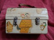 Decoupage Peanuts Snoopy Metal Dome Lunchbox Unique Free Shipping
