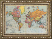Vintage And Antique Framed World Map   Antique Coloured Chart / Atlas Of The World