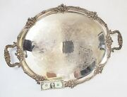Huge Antique Victorian English Sheffield Silverplate Serving Tray By Dr And Sons