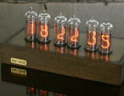 Nixie Clock 6xin-14 Tubes Wood And Brass Case Vintage Table Clock