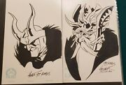 Original Comic Art Sketch Commission Loki And Odin By Phil Hester Lot Of 2 Thor