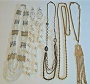 Silver Lined Bugle Bead Tubes + White Necklace + Earrings, Gold Balls + More