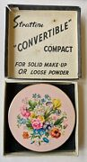 1940's Antique Stratton Floral Compact In Original Box And Circular Pattern Base
