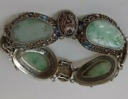 Antique Chinese Carved Green And White Jadeite Silver Enameled Filigree Bracelet