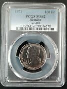 Reunion Extremely Rare 100 Francs Unc Coin 1971 Year Km13 Pcgs Grading Ms62