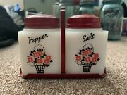 Vtg Tipp Usa Milk Glass Flower Salt And Pepper Shaker Red White With Caddy Tray
