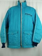 Vintage Goodyear Official Racing Apparel Coat Lt Blue Embroidered Patches Rare