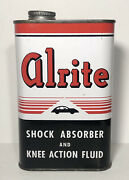 Vtg 1937 Alrite Shock Absorber And Knee Action Fluid 1 Pint Oil Can Tin Nos Full