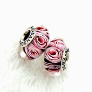 2 Authentic Pandora Murano Silver Charm Pink Roses Flower Blossom Zs376