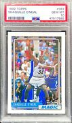 1992 Topps Shaquille O'neal 362 Rookie Rc Psa 10 Gem Mint Orlando Magic