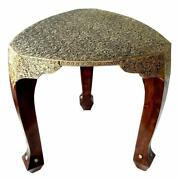 Wooden Handcrafted Carved Brown And Gold Color Wooden With Brass Work 3 Leg Stool