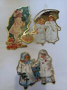 Victorian Girls Cardboard Die Cut Xmas Ornaments Double Sided Lot Of 3 Vintage