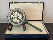 Rare Antique Oriental Octagon Carved Jade Etched Metal Hand Mirror Case + Stand