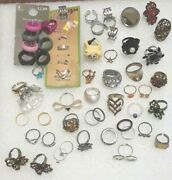 Lot Of Jewelry. 56 Rings. Some With Stones. Fun To Sort And Share