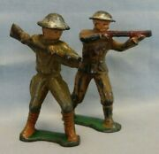 Barclay Manoil Cast Lead Toy Soldier W/rifle And Rifleman/sharpshooter - Lot Of 2