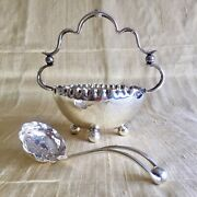 Epns Vintage Silver Plated J B Chatterley Sugar Bowl Basket And Sifter Spoon