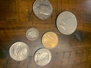 6 Old Us Coins Lot Silver Dollar Half Dollar Dime 2000 Gold Dollar