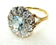 Antique Style 18ctyellow Gold Aquamarine And Diamond Daisy Cluster Ring Size K1/2