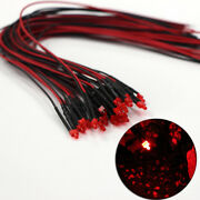 L1219dr 20pcs Pre Wired 1.9mm Diffused Red Led Lamp Light 12v With 20cm Wire