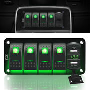 5 Gang Toggle Rocker Switch Panel With Usb For Car Boat Marine Truck Green Led