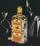 1952 Gordon's Dry Gin - Vintage Color Photo Bottle Man In Tux - Print Ad Nym