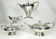 Antique Art Nouveau Derby Silverplate Tea Coffee Service Hammered Silver