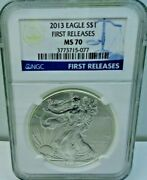 2013 American Eagle 1 First Releases Ngc Ms70 1oz .999 Silver Coin