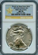 2012 W American Eagle 1 Ngc Ms70 First Releases 1oz .999 Silver Coin