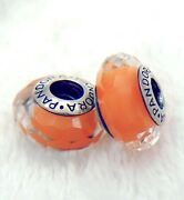 2 Pandora Silver 925 Ale Murano Charm Faceted Orange Beads 283