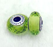 2 Pandora Silver 925 Ale Murano Charm Fancy Green Faceted Beads 321