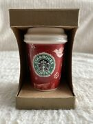 New Starbucks 2008 Reindeer Deer Red Holiday Christmas Ornament Tall Coffee Cup