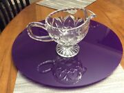 Vintage footed crystal Cut Glass Clear Creamer/milk or Syrup Serving Pitcher