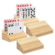Portable Smooth Wooden Playing Card Holder Decorative Card Organizer Tray Rack