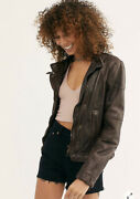 Free People Fitted And Rugged Brown 100 Lamb Leather Woman's Jacket Moto
