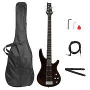 Professional Gib Electric 5 String Bass Guitar W/ Bag And Accessories Earth Brown