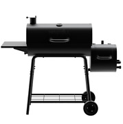 Charcoal Grill Barrel Bbq Smoker Combo Heavy Duty Steel Outdoor Cooking Black