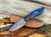 Damascus Steel Fixed Blade Knife 8and039and039 Custom Unique Gift Knives With Leather Case