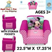 Kids Upholstered Chair With Pocket Lounger Toddler Seat Couch Minnie Mouse Gift