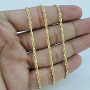 10k Solid Yellow Gold Necklace Gold Rope Chain 2mm 16 18 20 22 24 26 30