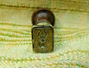 Antique 18th Century Brass And Wood Nobility Armorial Bell Sealing Wax Stamp Seal