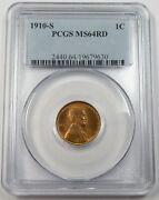 1910-s Pcgs Ms64rd Red Lincoln Wheat Penny 1c Us Coin 26709a