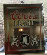 Coors Light Beer 1987 Mirrored Sign, Damage On Right Hand Side See Pictures