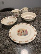 Royal Doulton Bunnykins Bowls Mugs Plate Made In England Vintage Set Of 5 Pieces